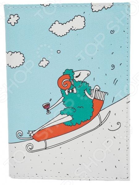 Обложка для автодокументов кожаная Mitya Veselkov «Овечка на саночках» аксессуар
