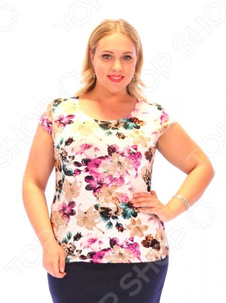 Блуза «Цветочная поляна». Цвет: кремовый, фиолетовый
