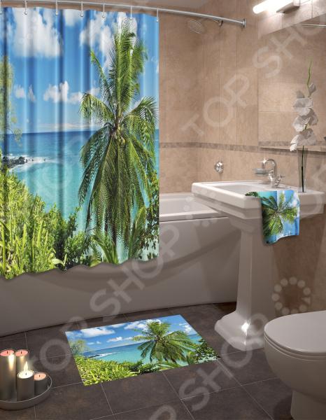Набор для ванной комнаты: шторка и коврик ТамиТекс «Гавайский рай»