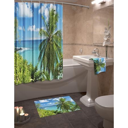 Купить Набор для ванной комнаты: шторка и коврик ТамиТекс «Гавайский рай»