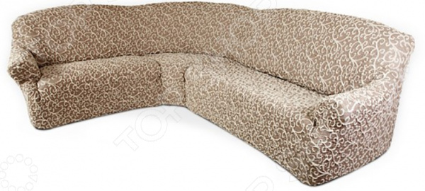 Натяжной чехол на классический угловой диван Еврочехол Еврочехол «Жаккард. Волны»