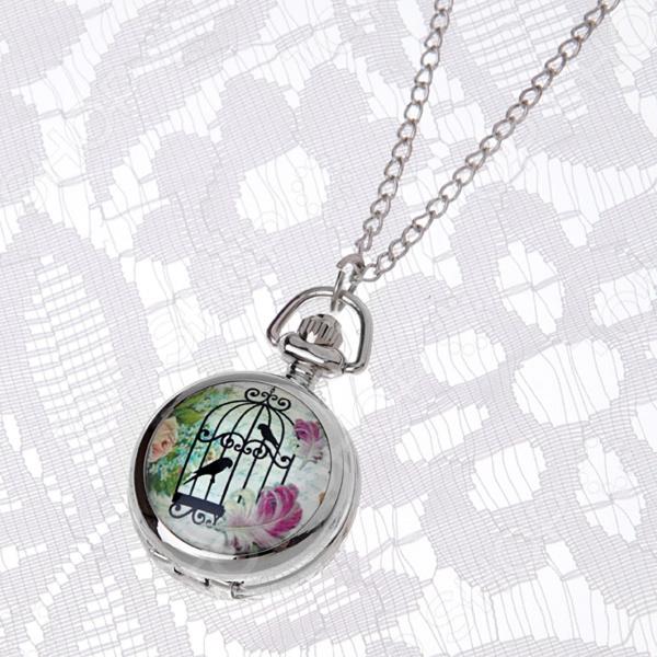 Кулон-часы Mitya Veselkov «Птицы в клетке и розовые перья»