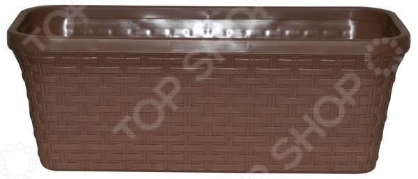 Кашпо прямоугольное с дренажем Violet «Ротанг». Цвет: какао