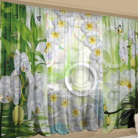 Купить Фотокомплект: тюль и шторы ТамиТекс «Сочная зелень»