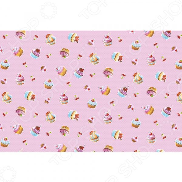Полотенце банное вафельное ТексДизайн «Сластена и пирожные» кислотные красители в алматы