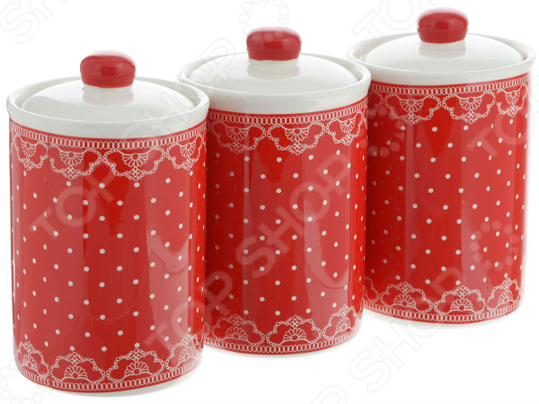 набор банок для сыпучих продуктов loraine красный узор 400 мл 3 шт 25862 Набор банок для сыпучих продуктов Loraine «Узор из горошка и кружева»