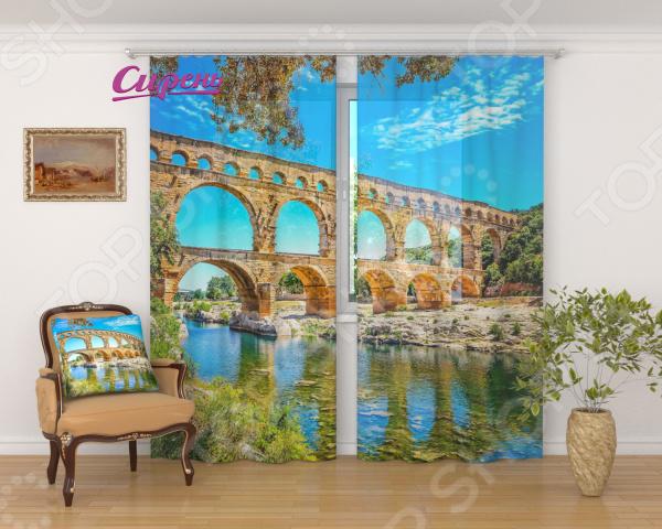Фототюль Сирень «Старинный арочный мост» фототюль сирень красный мост