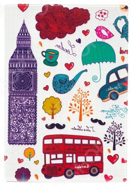 Обложка для паспорта кожаная Mitya Veselkov «Утренний Лондон»