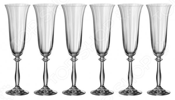Набор бокалов для шампанского Bohemia Crystal «Анжела оптик» 674-188 bohemia crystal набор бокалов для шампанского felina 25 см 2 шт