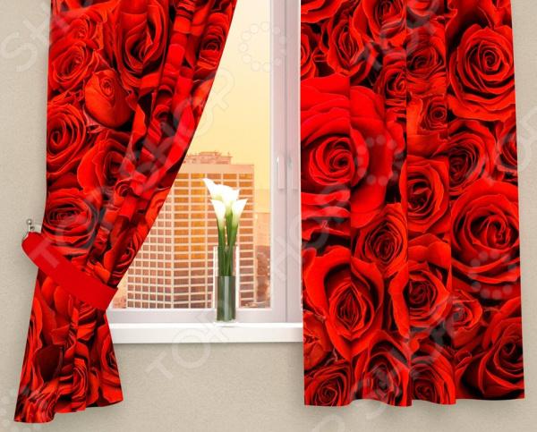 Фотошторы Сирень «Алые розы» фотошторы стильный дом синие розы