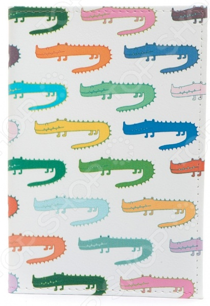 Обложка для паспорта кожаная Mitya Veselkov «Цветные крокодилы» обложка для паспорта кожаная mitya veselkov ежик с веточкой