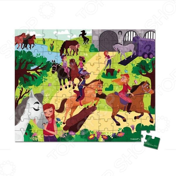 Пазл 100 элементов Janod «Лошадки»