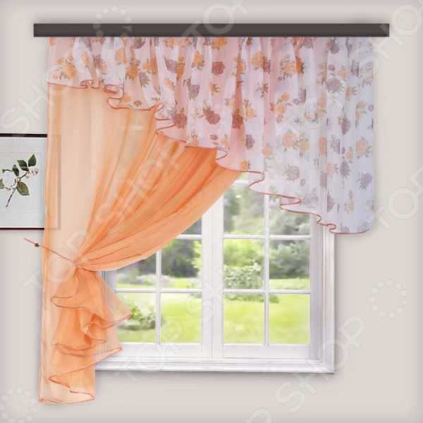 Комплект легких штор левосторонний WITERRA «Лира». Цвет: персиковый. В ассортименте