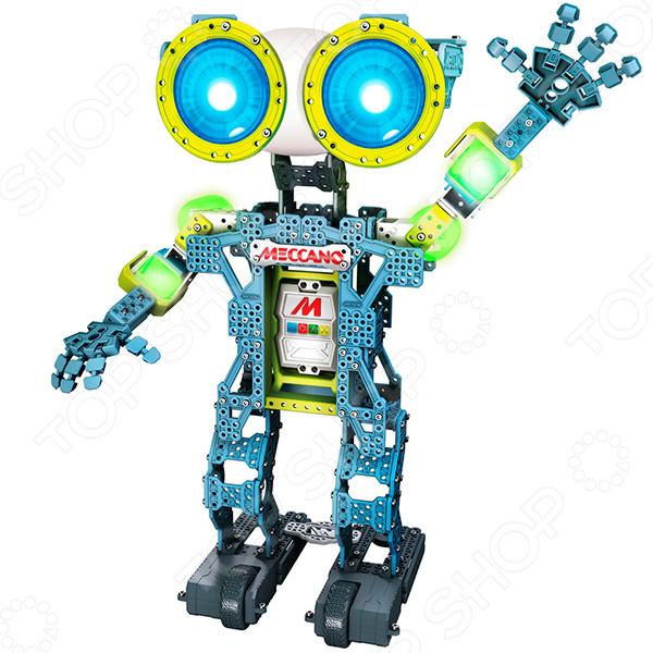 Конструктор для мальчика Meccano Робот Меканоид G15 это находка для юных любителей техники. Ведь в наборе есть все необходимое для того, чтобы создать умного управляемого робота. Меканоид умеет двигать руками, ногами, головой и пальцами рук, запоминать и воспроизводить движения, распознавать речь, воспроизводить звуки и общаться. Особенности Меканоида  4 мотора, приводящие в движение руки и шею.  2 мотора, благодаря которым он ездит вперед-назад, влево-вправо.  3 способа программирования: LIM Learned Intelligent Movement пользователь двигает руки Меканойда и прозносит любые звуки, затем Меканоид в точности это повторяет; Ragdoll Avatar управление движениями робота с мобильного устройства iOS или Android, Motion Capture установитемобильный телефон iOS или Android в тело робота, и он будет повторять движения рук.  Управляется с помощью смартфона, повторяет движения.  Глаза робота LED дисплеи около 500 цветов .  Встроенные моторчики для передвижения.