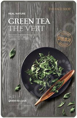 Маска тканевая для лица THE FACE SHOP Real Nature «Зеленый чай» средство для снятия макияжа с глаз и губ the face shop phyto powder 100 мл зеленый чай