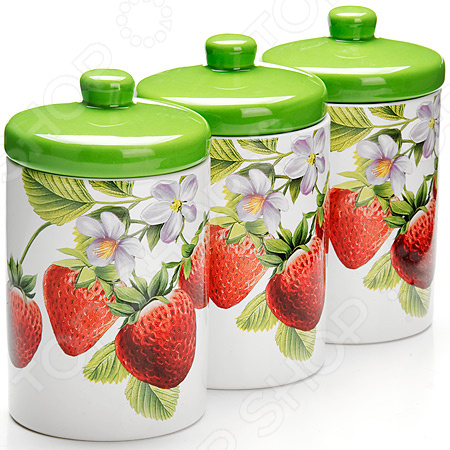 Набор банок для сыпучих продуктов Loraine LR-26222 «Клубника» набор банок для сыпучих продуктов loraine бабочки 6 предметов 25633