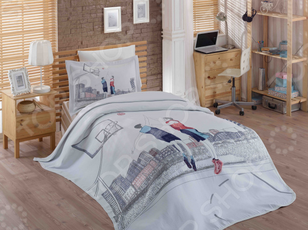 Комплект: покрывало, простыня и 2 наволочки Hobby San-Diego для создания комфортной обстановки, а также украшения спальной комнаты. Чтобы сон всегда был комфортным, а пробуждение приятным, мы предлагаем вам этот комплект из белья с приятным на вид цветом и высоким качеством пошива. Белье из сатина с жаккардовым покрывалом, специально придуманное для подростков с учетом эстетически модных и стильных тенденций.  Для изготовления белья используется текстиль высокого качества, сделано по специальной технологии сложного переплетения нескольких видов нитей. Белье способно хорошо пропускать воздух и впитывать влагу в течении ночи. Также имеет отличные характеристики усадки и практически не мнется. Дизайн белья предусматривает красочные, объемные, реалистичные рисунки, нанесенные на ткань методом реактивной печати. Преимущества:  Белье гипоаллергенно, легко впитывает частички влаги, за счет чего оно хорошо охлаждает, кожа дышит.  Прочная и износостойкая ткань с двойным нитяным плетением.  Мягкая, гладкая и шелковистая поверхность.  Легко стирать и гладить, не беспокоясь о потере формы и цвета.  Красивый принт на внешней стороне. Перед первым применением комплект постельного белья рекомендуется постирать. Перед этим выверните наизнанку наволочки и пододеяльник. Для сохранения цвета не используйте порошки, которые содержат отбеливатель. Рекомендуемая температура стирки 40 С и ниже, без использования кондиционера или смягчителя воды.