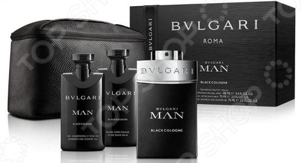 Набор мужской: туалетная вода, бальзам после бритья, гель для душа, шампунь и косметичка BVLGARI Man Black Cologne bvlgari aqva atlantiqve шампунь и гель для душа 200 мл