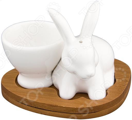 Пашотница с солонкой Elan Gallery «Белый кролик»