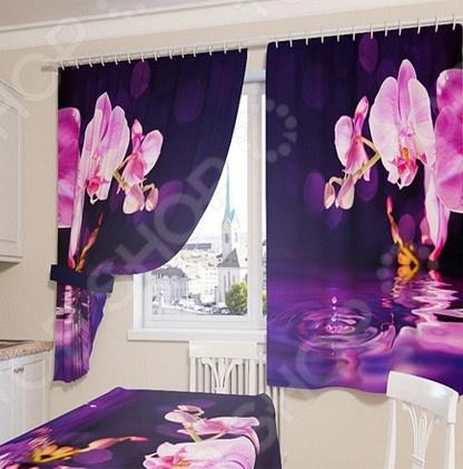цена Фотошторы Сирень «Орхидея над водой» онлайн в 2017 году