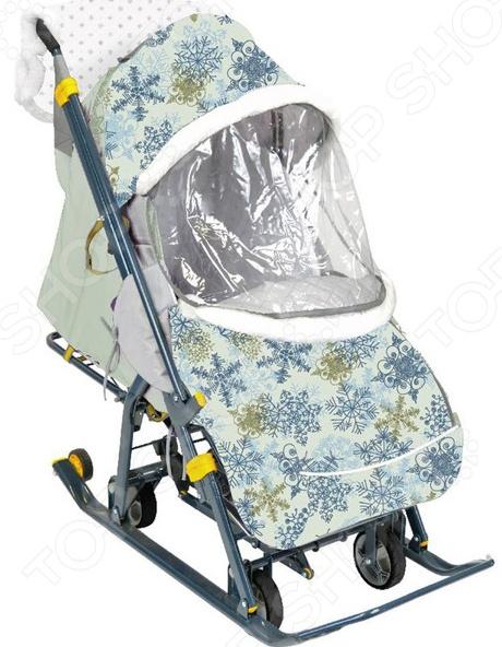 Санки-коляска Ника «Наши детки». Рисунок: снежинки