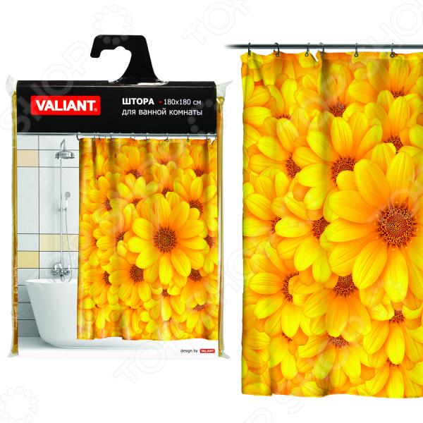Штора для ванной Valiant «Желтые цветы»