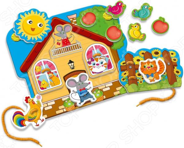 Игра развивающая Vladi Toys «Шнуровка с липучками. Домик друзей» alex развивающая игра шнуровка домик в деревне