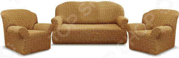 Натяжной чехол на трехместный диван и чехлы на 2 кресла Karbeltex «Престиж» 10044
