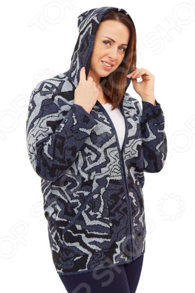Куртка Milana Style Богдана свободная модель прямого кроя, которая идеально подойдет для повседневного использования в холодное время года. При этом особенности фасона позволяют подчеркнуть женственность вашего образа.  Вязаная куртка свободного силуэта с застежкой на молнию и капюшоном.  Яркий жаккардовый узор смотрится очень стильно, а однотонная окантовка по деталям подчеркивает силуэт изделия.  Предусмотрены накладные карманы.  Универсальная длина до середины бедра.  На фото с брюкам Меркурий . Куртка сшита из качественного материала, состоящего на 70 из полиэстера и 30 шерсти. Ткань не линяет, не скатывается, формы от стирки не теряет. Содержит материал из шерсти, который обладают хорошей воздухопроницаемостью и согревающим эффектом. ПАН делает изделие теплым и мягким, приятным к телу.