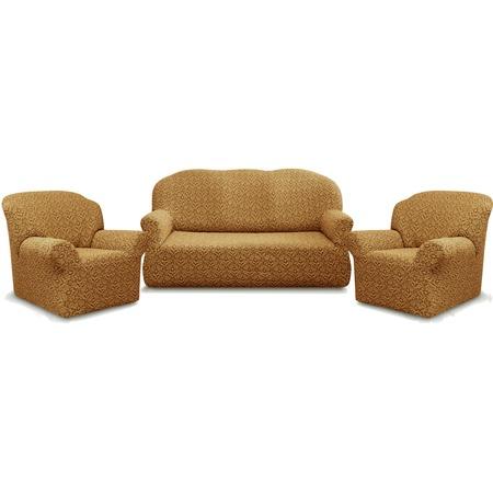 Купить Натяжной чехол на трехместный диван и чехлы на 2 кресла Karbeltex «Престиж» 10044
