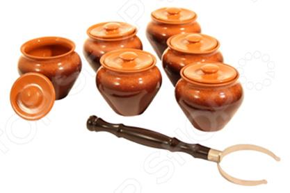 Фото - Набор банок Вятская керамика ВК-1/6Т набор керамических горшков 3 предмета вятская керамика нбр вк 3т