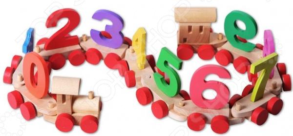 Игрушка деревянная PAREMO в пакете «Паровозик с цифрами»