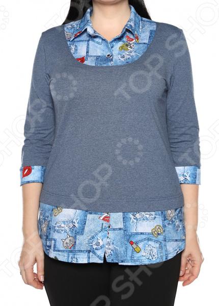 Блуза El Fa Mei «Интересное сочетание». Цвет: джинсовый el fa mei боди слипы