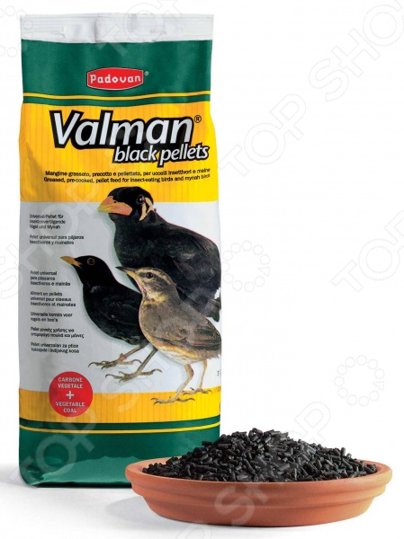 Корм для насекомоядных птиц Padovan Valman black pellets с активированным углем и овощами корм для тропических птиц padovan wellness mix полнорационный 1кг