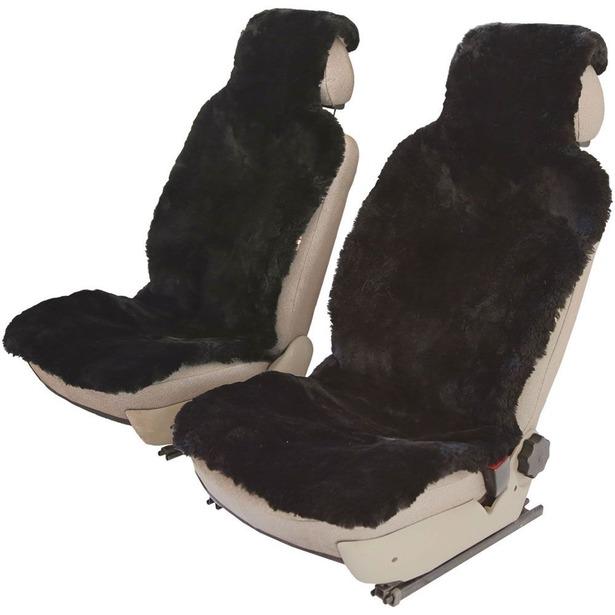 фото Комплект меховых накидок на сиденья Senator Country Premium. Цвет: черный