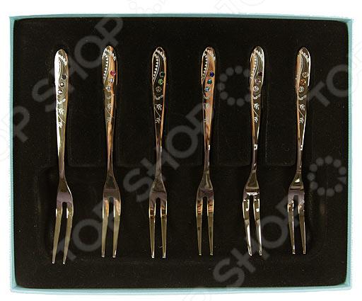 Подарочный набор десертных вилок Crystocraft 67573 с кристаллами Swarovski