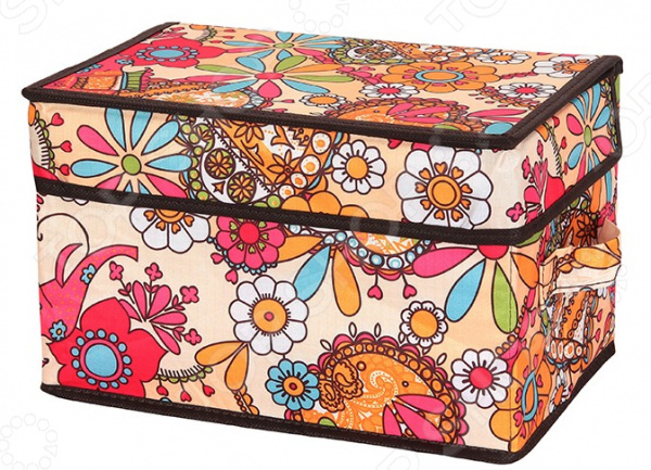 Кофр для хранения вещей EL Casa с яркими цветочными узорами и двумя ручками