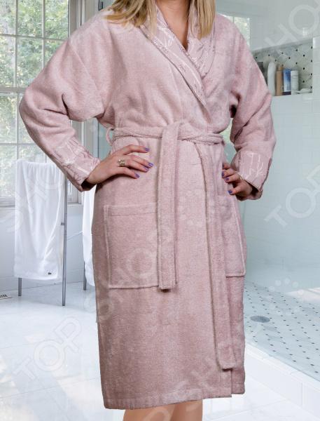 Халат махровый женский Hobby Home Collection Eliza. Цвет: светло-розовый