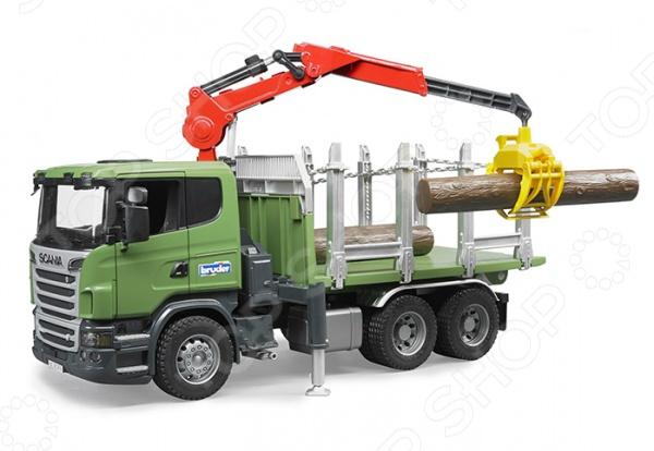 Машинка игрушечная Bruder с портативным краном и бревнами «Лесовоз» Scania