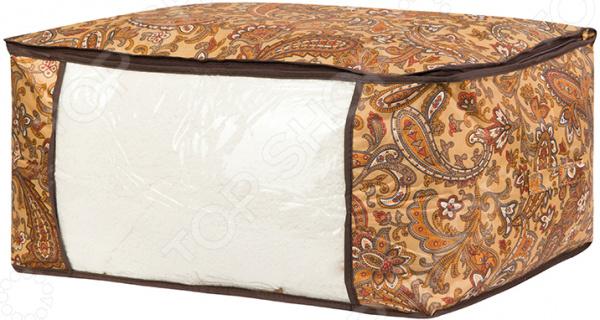 Кофр для хранения одеял и пледов EL Casa «Перо павлина». Цвет: коричневый кофр для хранения одеял и пледов el casa звезды цвет розовый 80 х 60 х 25 см
