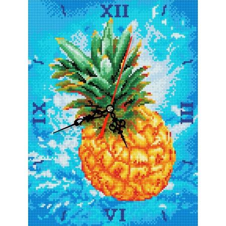 Купить Часы из алмазной мозаики Color Kit «Сочный ананас»