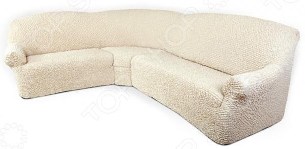 Натяжной чехол на классический угловой диван Еврочехол «Микрофибра. Ваниль» 1