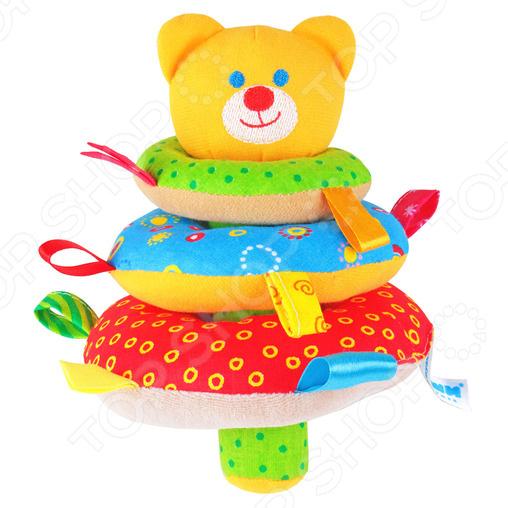 Игрушка-пирамидка мягкая Мякиши «Мишка» игрушка погремушка мякиши медвежонок колечко