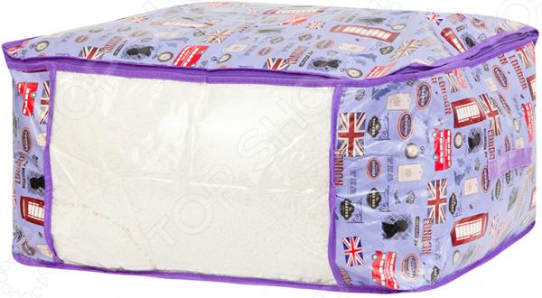 Кофр для хранения одеял и пледов EL Casa «Красочный Лондон» 370471 кофр для хранения одеял и пледов el casa звезды цвет розовый 80 х 60 х 25 см