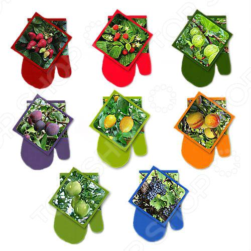 Набор: прихватка с рукавицей Мультидом «Ягоды-фрукты» L22-206. В ассортименте набор кухонный прихватка и рукавица мультидом светлая пасха z22 39 в ассортименте