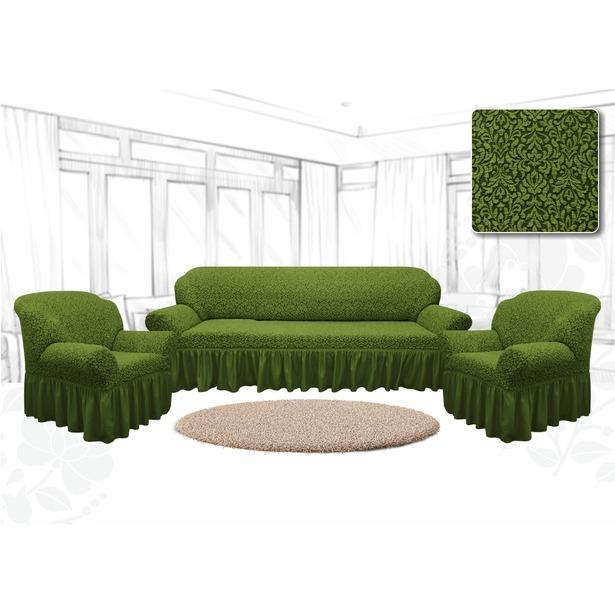 фото Натяжной чехол на трехместный диван и чехлы на 2 кресла Karbeltex «Престиж. Цветы». Цвет: зеленый