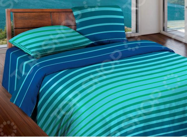 Комплект постельного белья Wenge Stripe. 1,5-спальный. Цвет: синий, мятный