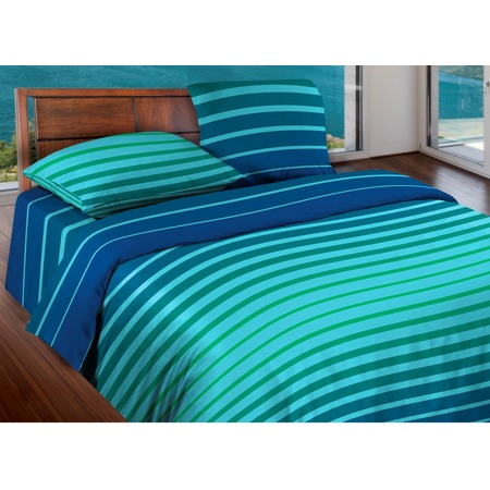 Купить Комплект постельного белья Wenge Stripe. 1,5-спальный. Цвет: синий, мятный