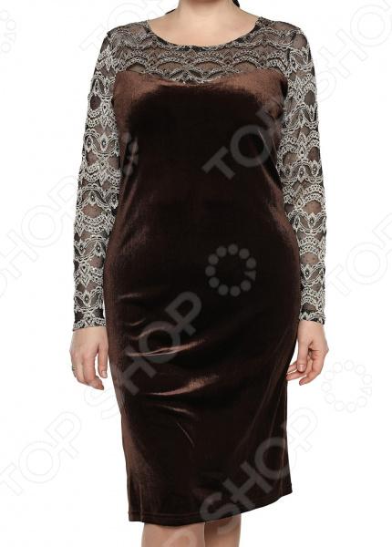 Платье Лауме-Лайн «Бархатный блюз». Цвет: коричневый