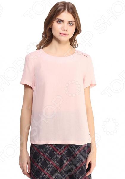 Блуза Finn Flare B17-11052. Цвет: светло-розовый free shipping 11052 cotton clothing